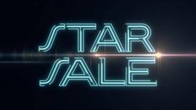 蓝色激光霓虹星销售文本出版与在黑背景-减速火箭新的质量的发光的轻的光学火光动画 皇族释放例证