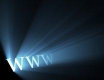 蓝色火光光万维网宽世界万维网 库存照片