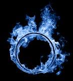 蓝色火圆环  免版税库存图片