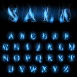 蓝色火在销售上写字 免版税库存图片