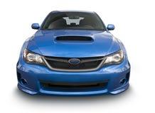 蓝色炫耀在白色隔绝的轿车 免版税图库摄影