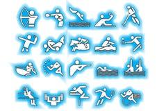 蓝色炫耀符号向量 图库摄影
