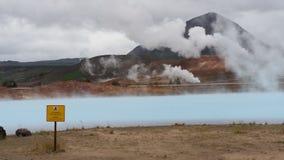 蓝色热量湖在冰岛 免版税库存照片