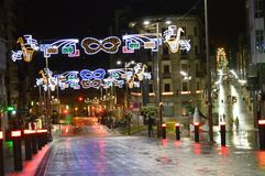 蓝色照明设备天空街道村庄 免版税图库摄影