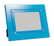 蓝色照片框架被隔绝的背景 库存照片