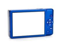蓝色照相机协定 查出的背面图白色 免版税库存照片