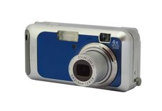 蓝色照相机 免版税库存照片