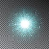 蓝色爆炸作用 被隔绝的发光的透明轻的闪烁作用对黑暗的背景 不可思议的gl 向量例证