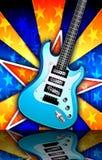 蓝色爆炸吉他例证摇滚明星 免版税库存图片