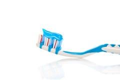 蓝色牙刷 库存图片