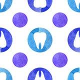 蓝色牙无缝的水彩样式 皇族释放例证