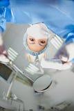 蓝色牙科医生佩带 免版税库存照片