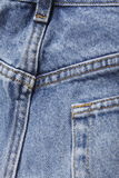 蓝色牛仔布牛仔裤后方 免版税库存照片