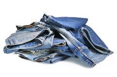 蓝色牛仔布牛仔裤 免版税图库摄影