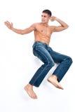 蓝色牛仔裤人 库存图片