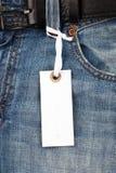 蓝色牛仔裤价牌 免版税库存图片