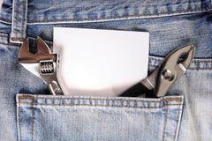 蓝色牛仔裤工具 免版税库存照片