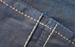 蓝色牛仔裤气喘背景针特写镜头  库存照片