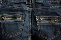 蓝色牛仔裤矿穴二邮政编码 免版税图库摄影