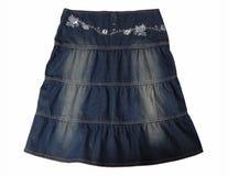 蓝色牛仔裤裙子。 图库摄影