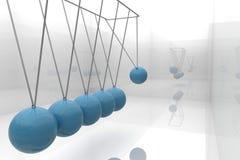 蓝色牛顿摇篮 库存照片