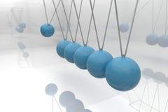蓝色牛顿摇篮 图库摄影