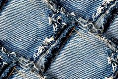 蓝色牛仔布纹理-无缝的背景 免版税图库摄影