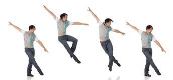 蓝色牛仔裤和轻拍鞋子的踢踏舞舞蹈家 图库摄影