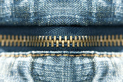 蓝色牛仔裤拉链 库存照片