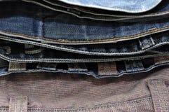 蓝色牛仔裤牛仔布背景纹理 库存照片