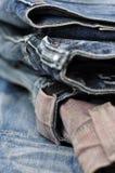 蓝色牛仔裤牛仔布背景纹理 免版税库存图片