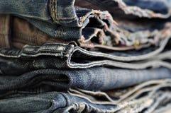 蓝色牛仔裤牛仔布背景纹理 库存图片