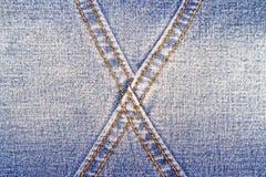 蓝色牛仔裤纹理背景和发怒橙色缝 免版税库存图片