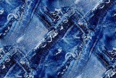 蓝色牛仔裤纹理-无缝的背景 库存照片