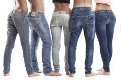 蓝色牛仔裤背面图  免版税库存照片