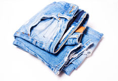 蓝色特写镜头牛仔裤 免版税库存照片