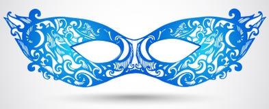 蓝色狂欢节面具例证。传染媒介邀请的设计元素 免版税库存照片