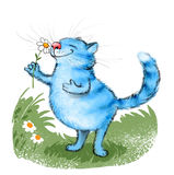 蓝色猫和花 免版税图库摄影