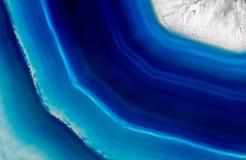 蓝色玛瑙水晶背景  免版税库存图片