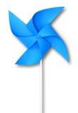 蓝色玩具风车 免版税库存照片