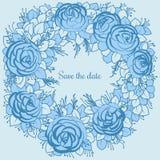 蓝色玫瑰花圈对desing的婚礼的 免版税图库摄影