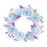 蓝色玫瑰花束 额嘴装饰飞行例证图象其纸部分燕子水彩 逗人喜爱的葡萄酒样式花圈,边界,框架 免版税库存照片