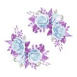 蓝色玫瑰花束 额嘴装饰飞行例证图象其纸部分燕子水彩 逗人喜爱的葡萄酒样式花圈,边界,框架 库存图片