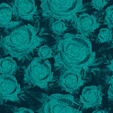 蓝色玫瑰,无缝的样式 免版税库存图片