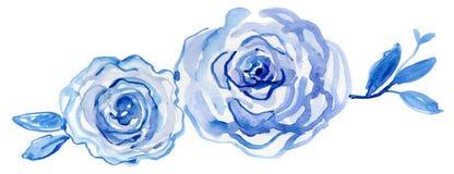 蓝色玫瑰 手画的水彩,葡萄酒例证 免版税库存图片