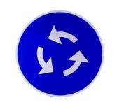 蓝色环形交通枢纽符号 免版税图库摄影