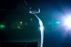 蓝色现代汽车特写镜头 免版税库存图片