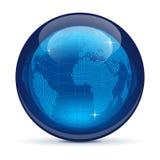 蓝色玻璃地球图标 免版税库存图片