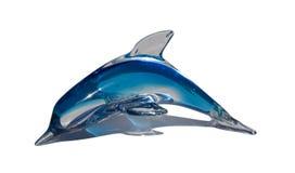 蓝色玻璃海豚表白色 库存图片