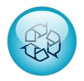 蓝色玻璃状图标分级显示回收 免版税库存照片